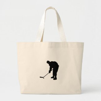 Hockey Player and puck Silhouette Large Tote Bag