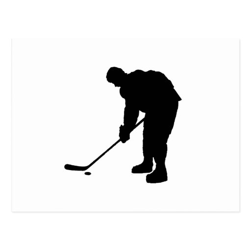 Hockey Player and puck Silhouette Postcard