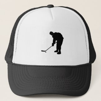 Hockey Player and puck Silhouette Trucker Hat