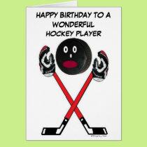 Hockey Player Birthday Card