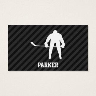 Hockey Player; Black & Dark Gray Stripes Business Card