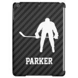Hockey Player; Black & Dark Gray Stripes Case For iPad Air