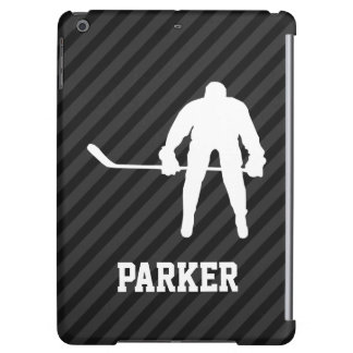 Hockey Player; Black & Dark Gray Stripes Case For iPad Air