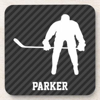 Hockey Player; Black & Dark Gray Stripes Beverage Coasters
