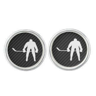 Hockey Player; Black & Dark Gray Stripes Cufflinks