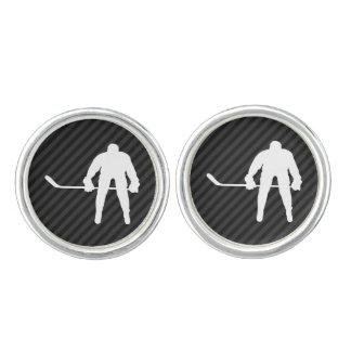 Hockey Player; Black & Dark Gray Stripes Cufflinks