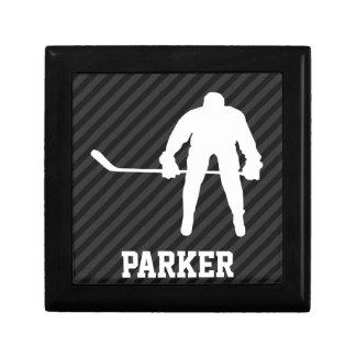 Hockey Player; Black & Dark Gray Stripes Trinket Box