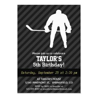 Hockey Player; Black & Dark Gray Stripes 5x7 Paper Invitation Card