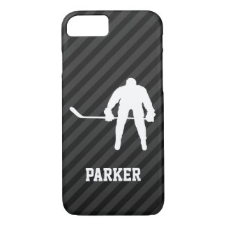 Hockey Player; Black & Dark Gray Stripes iPhone 8/7 Case