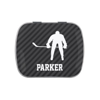 Hockey Player; Black & Dark Gray Stripes Jelly Belly Tin