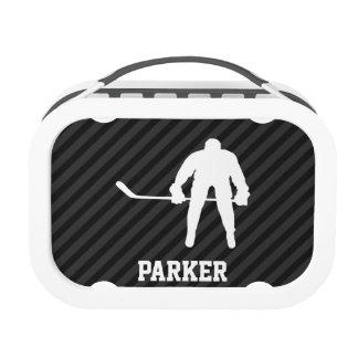 Hockey Player; Black & Dark Gray Stripes Yubo Lunch Box