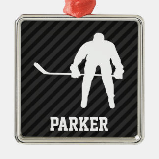 Hockey Player; Black & Dark Gray Stripes Metal Ornament