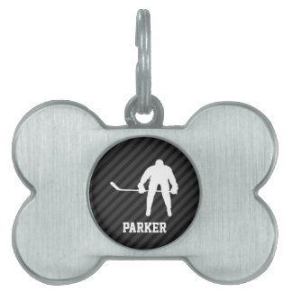 Hockey Player; Black & Dark Gray Stripes Pet ID Tag