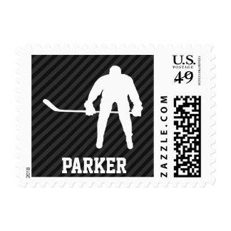 Hockey Player; Black & Dark Gray Stripes Postage Stamp