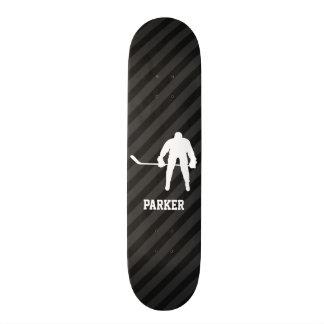 Hockey Player; Black & Dark Gray Stripes Skateboard