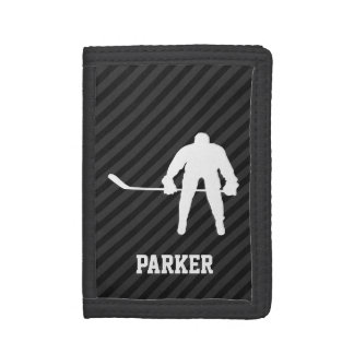 Hockey Player; Black & Dark Gray Stripes Tri-fold Wallets