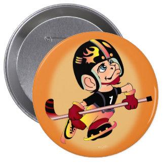 HOCKEY PLAYER CARTOON   Button Huge, 4 Inch