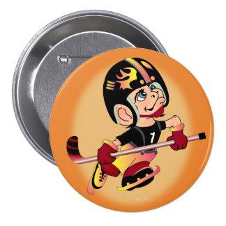HOCKEY PLAYER CARTOON   Button Large, 3 Inch