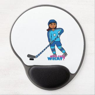 Hockey Player - Dark With Blue Uniform Gel Mousepads