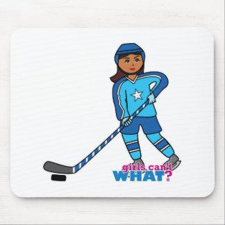 Hockey Player - Dark With Blue Uniform Mousepads