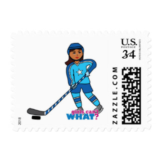 Hockey Player - Dark With Blue Uniform Postage