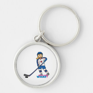 Hockey Player Girl Silver-Colored Round Keychain