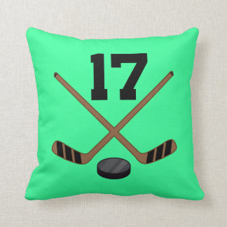 Hockey Player Jersey Number 17 Gift Throw Pillow