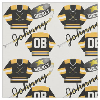 Hockey Player Jersey Puck and Stick Name Number Fabric