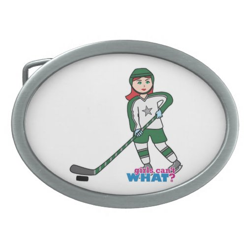 Hockey Player Light/Red Oval Belt Buckles