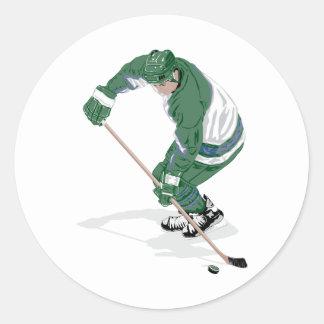 Hockey Player On The Ice Classic Round Sticker
