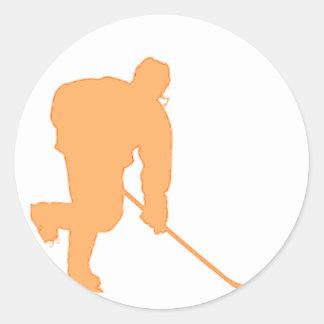 Hockey_Player_ORANGE2 Classic Round Sticker