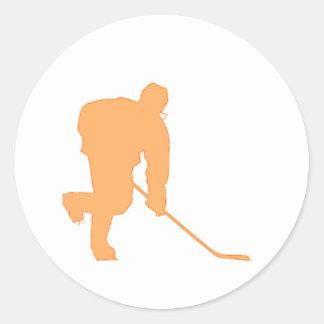 Hockey_Player_ORANGE2 Pegatina Redonda