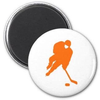 hockey player orange 2 inch round magnet