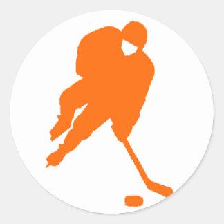 hockey player orange classic round sticker
