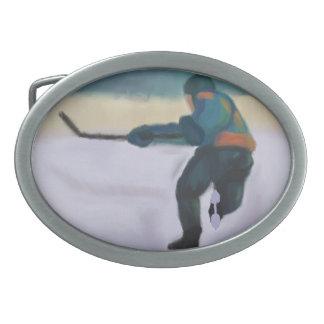 Hockey Player Oval Belt Buckle