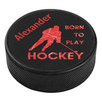 Hockey player puck Born to play red ice name