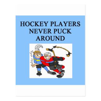 hockey player puck joke postcard