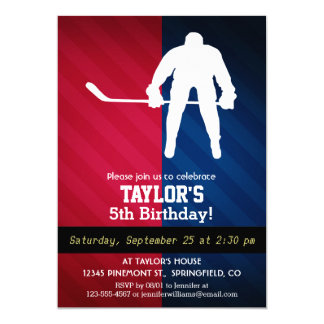 Hockey Player; Red, White, and Blue 5x7 Paper Invitation Card