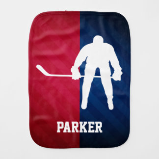 Hockey Player; Red, White, and Blue Baby Burp Cloth