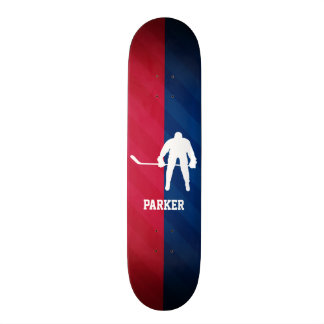 Hockey Player; Red, White, and Blue Custom Skateboard