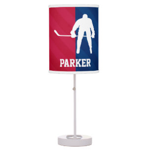 Hockey Player; Red, White, And Blue Desk Lamp