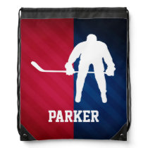 Hockey Player; Red, White, and Blue Drawstring Backpack