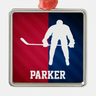 Hockey Player; Red, White, and Blue Metal Ornament