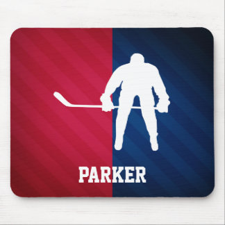 Hockey Player; Red, White, and Blue Mouse Pad
