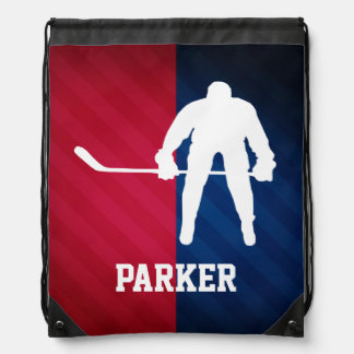 Hockey Player; Red, White, and Blue Drawstring Bags