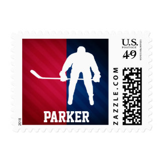 Hockey Player; Red, White, and Blue Postage Stamps