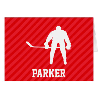 Hockey Player; Scarlet Red Stripes Card