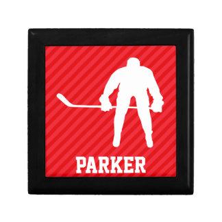 Hockey Player; Scarlet Red Stripes Gift Box