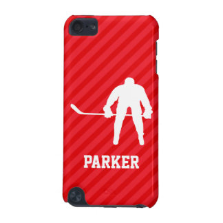 Hockey Player; Scarlet Red Stripes iPod Touch 5G Cover
