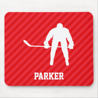 Hockey Player; Scarlet Red Stripes Mouse Pad